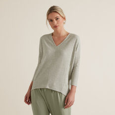 V Neck Rib Top  WASHED OLIVE MARLE  hi-res
