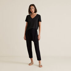 V Neck Rib Tee  WASHED BLACK  hi-res