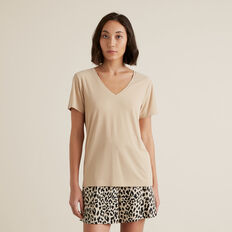 V Neck Rib Tee  QUICKSAND  hi-res