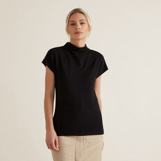 Mock Neck Rib Top  BLACK  hi-res