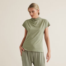 Mock Neck Rib Top  WASHED OLIVE  hi-res