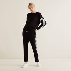 Double Stripe Trackies  BLACK  hi-res