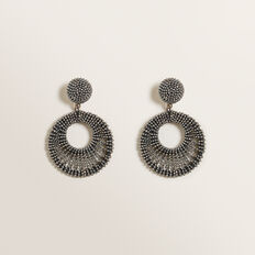 Beaded Hoop Earring  GUNMETAL  hi-res