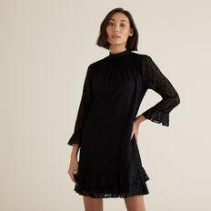 Animal Devore Dress  BLACK  hi-res
