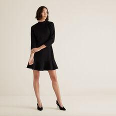 Textured Kick Flare Dress  BLACK  hi-res