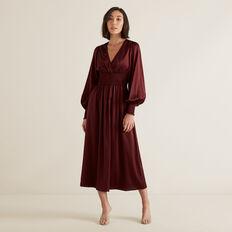 Shirred Waist Dress  DEEP CRIMSON  hi-res