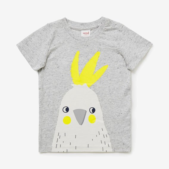 Cockatoo Print Tee  CLOUDY MARLE  hi-res