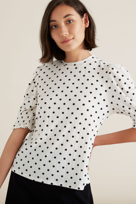 Shirred Sleeve Top  BISQUE/BLACK SPOT  hi-res