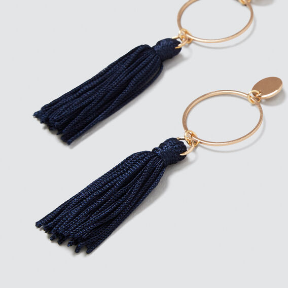 Circle Tassle Earrings  NAVY  hi-res
