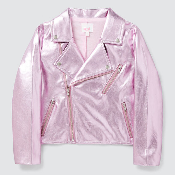 Metallic Biker Jacket  PARISIAN PINK  hi-res