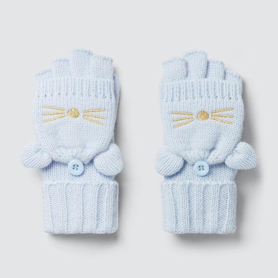 Knitted Cat Gloves  SOFT BLUE  hi-res