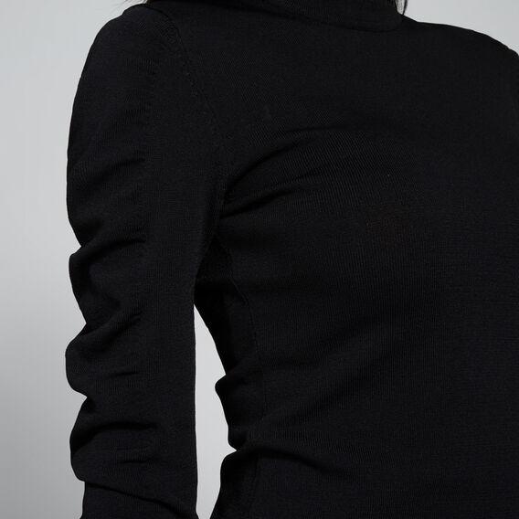 Crepe Roll Neck Knit  BLACK  hi-res