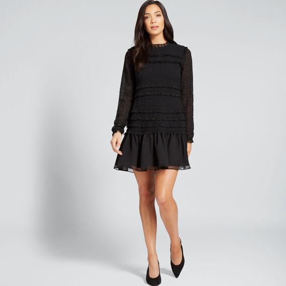 All Over Shirred Dress  BLACK  hi-res