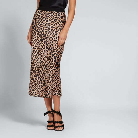 Printed Satin Skirt  LEOPARD PRINT  hi-res