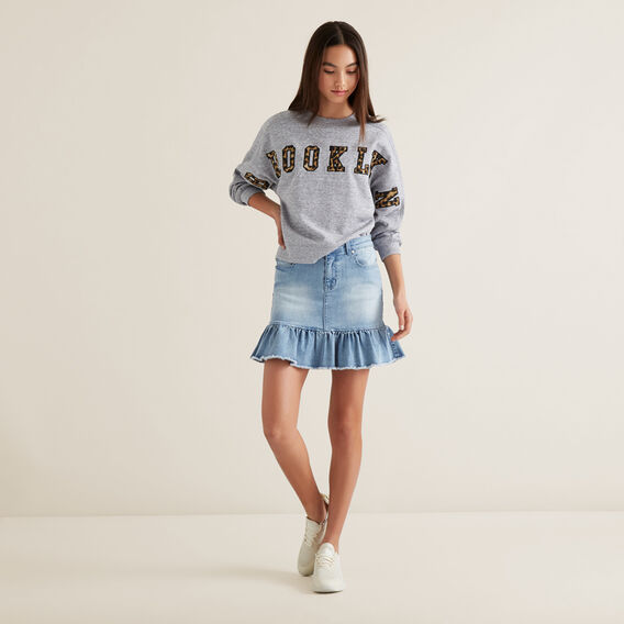 Raw Frill Denim Skirt  LIGHT WASH  hi-res