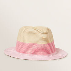 Colour Block Fedora  NATURAL  hi-res
