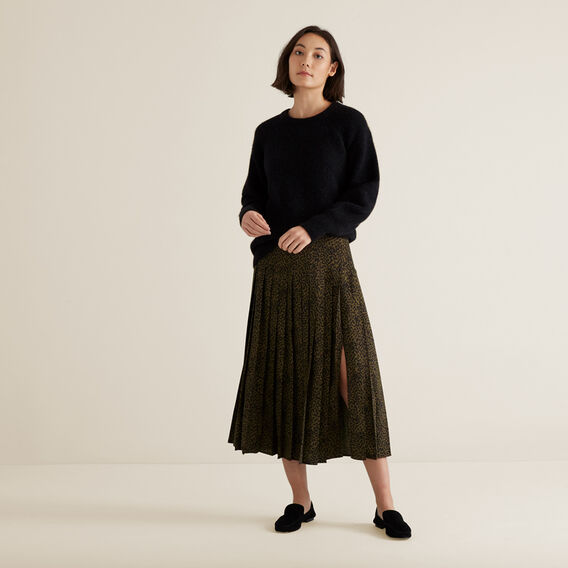 Pleated Animal Skirt  RICH OLIVE ANIMAL  hi-res