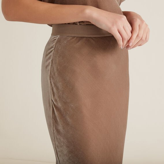 Velvet Slip Skirt  WALNUT  hi-res