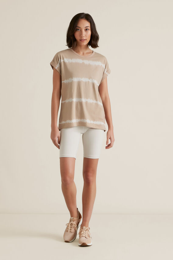 Tie Dye Rolled Cuff Tee  NEUTRAL BEIGE  hi-res