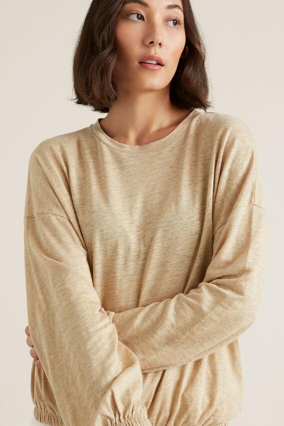 Blouson Sleeve Linen Top  ECRU MARLE  hi-res