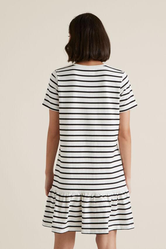 Drop Waist Frill Dress  BLACK STRIPE  hi-res
