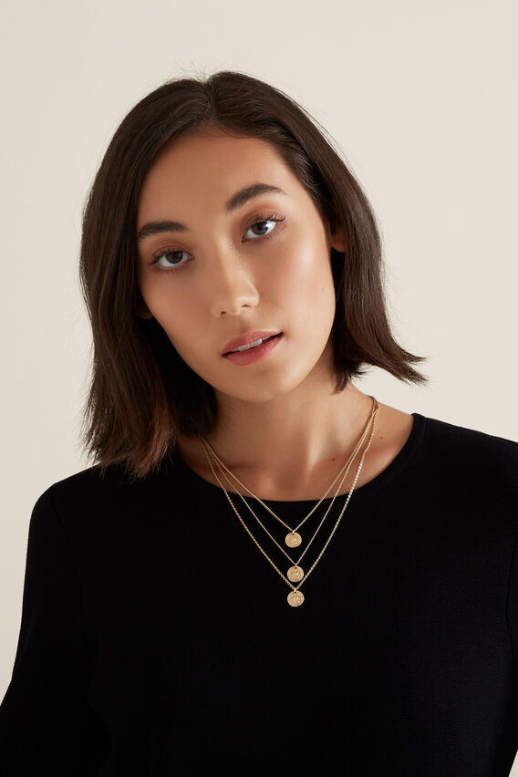 Layered Coin Necklace  GOLD  hi-res
