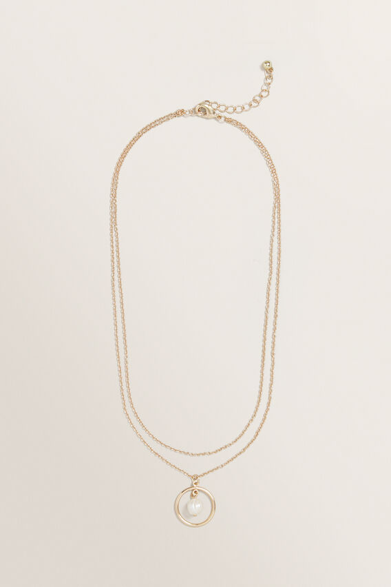 Pearl Disc Necklace  GOLD  hi-res