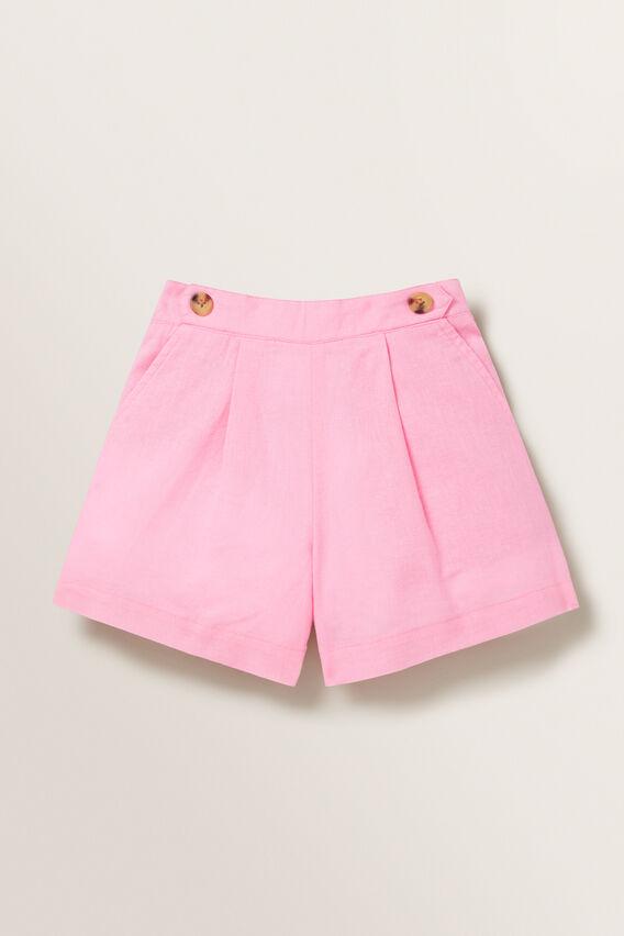 Linen Button Shorts  PINK BLUSH  hi-res
