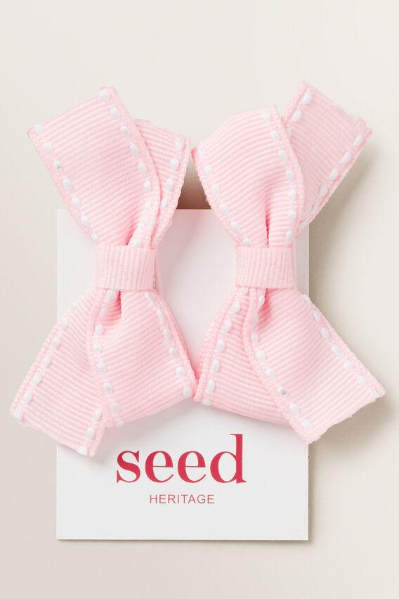 Stitched Bow Slides  PINK  hi-res