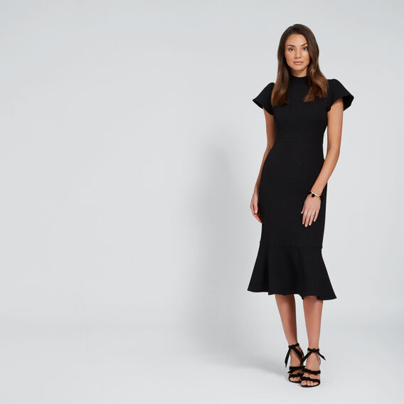 Funnel Neck Fishtail Dress  BLACK  hi-res