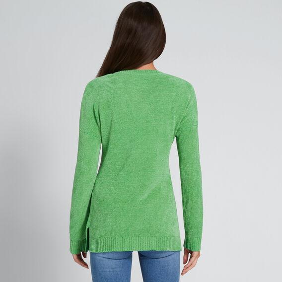 Side Split Long Sleeve Top  WASHED GREEN  hi-res