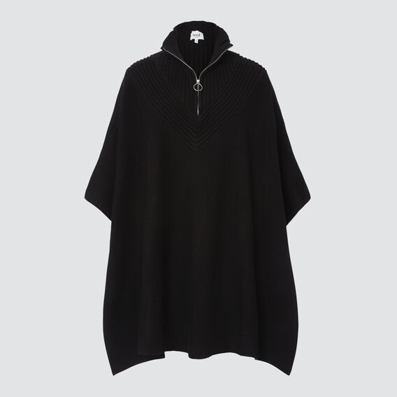 Zip Detail Poncho  BLACK  hi-res