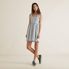 Gingham Shirred Dress  MIDNIGHT  hi-res