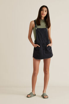 Distressed Denim Pinafore  WASHED BLACK  hi-res