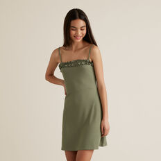 Rib Ruffle Dress  SAGE  hi-res