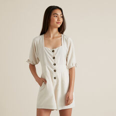 Button Front Playsuit  OATMEAL  hi-res