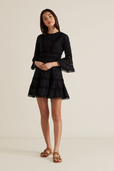 Broderie Bell Sleeve Dress  BLACK  hi-res