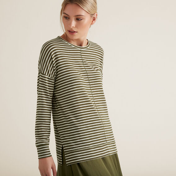 Easy Long Sleeve Top  RICH OLIVE STRIPE  hi-res