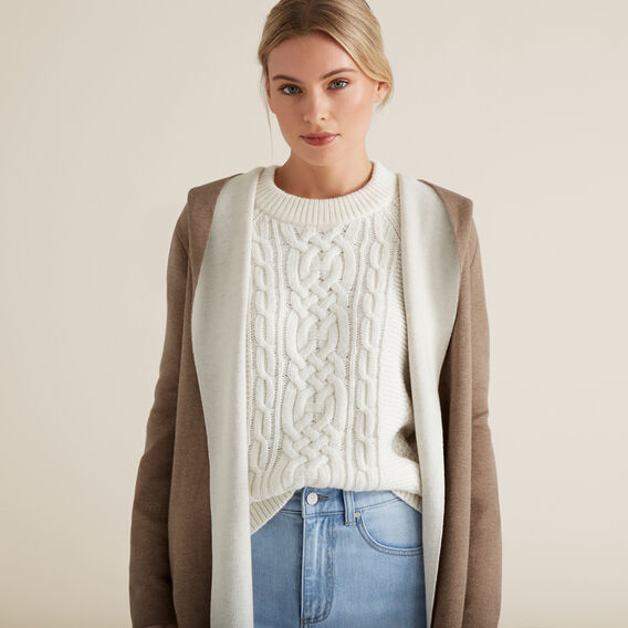 Hooded Cardigan  WALNUT/FRENCH VANILA  hi-res