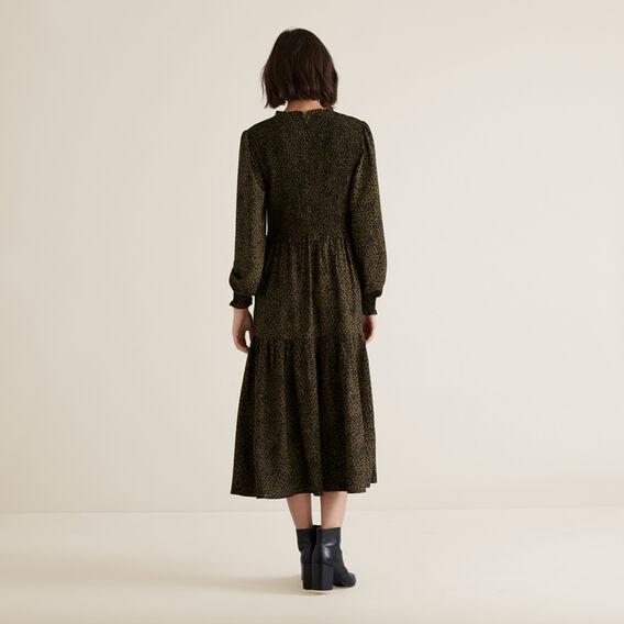 Shirred Animal Print Dress  RICH OLIVE ANIMAL  hi-res