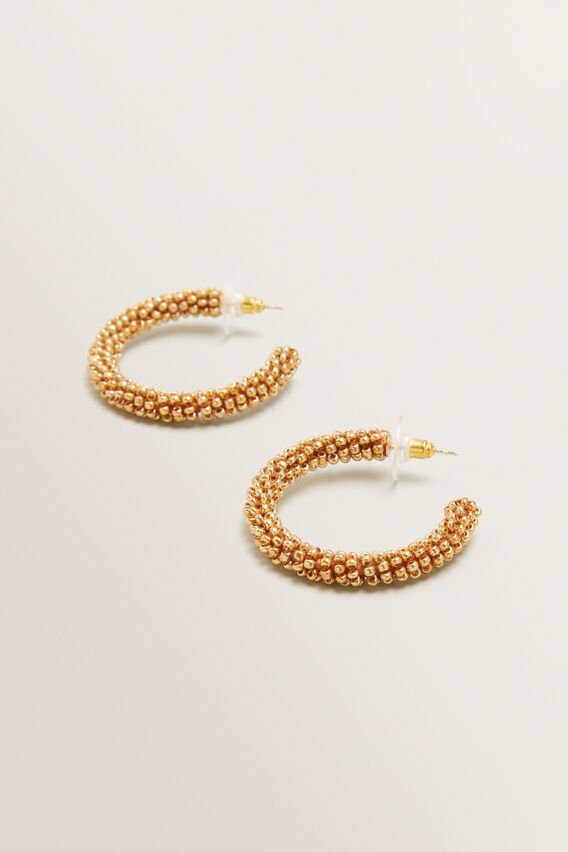 Bead Hoops  GOLD  hi-res