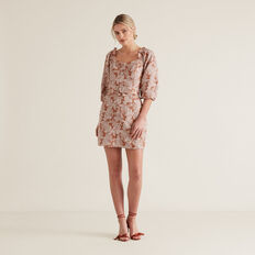 Belted Mini Dress  WASHED APRICOT PAISL  hi-res