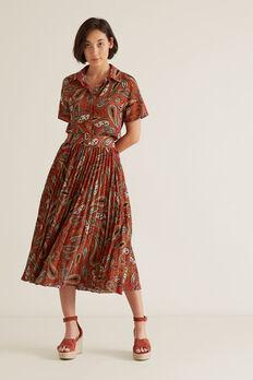 Paisley Pleat Skirt  RED VELVET PAISLEY  hi-res