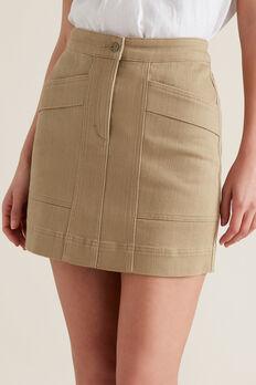 Stitch Detail Denim Skirt  WARM TAN  hi-res