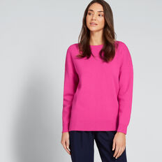 Curve Hem Easy Sweater  BOLD FUCHSIA  hi-res