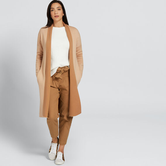 Two Tone Cardigan  SFT BEIGE/GINGRBREAD  hi-res