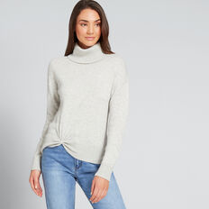 Twist Front Sweater  LIGHT ASH MARLE  hi-res