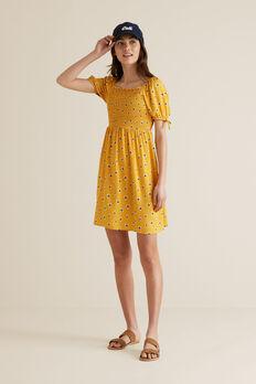 Floral Shirred Dress  SUNSET  hi-res