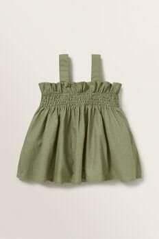Linen Shirred Top  PALE KHAKI  hi-res