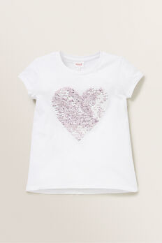Sequin Heart Tee  WHITE  hi-res